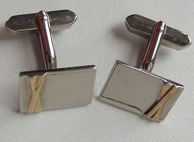 Mens cufflinks Modern shiny rectangular Gold-tone Silver-tone Reflective Mirror
